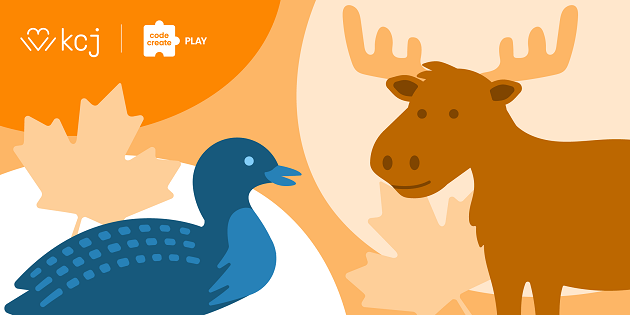 Illustration of a Canadian moose and a duck.