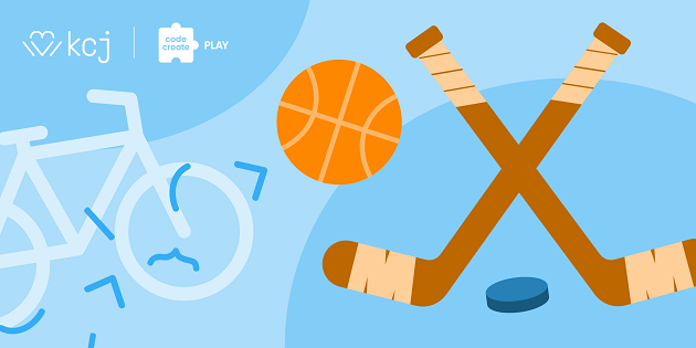 Illustration of hockey sticks and a basketball.